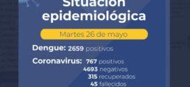 Chaco tiene 767 casos positivos de Covid-19, 315 altas y 45 fallecimientos