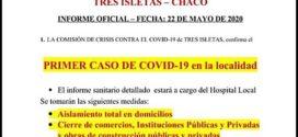 CHACO| Primer caso positivo de cronavirus en Tres Isletas que extrema las medidas sanitarias y aislamiento