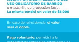 IMPORTANTE! A partir del lunes 8 de febrero se multará a los que no cumplan con el uso obligatorio del barbijo