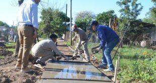 Makallé: avanza a buen ritmo la construcción de veredas por parte del Municipio local